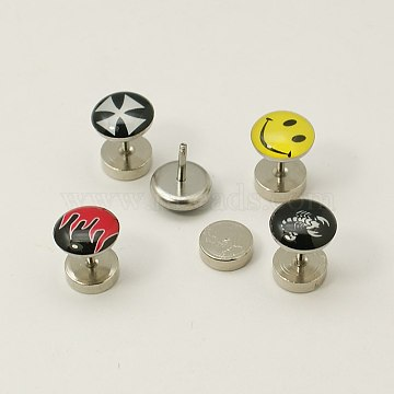 Stainless Steel and Plastic Ear Fake Plugs, Mixed Color, 13x8~9.5mm, Pin: 1mm; about 12pcs/board(EJEW-I053-10)