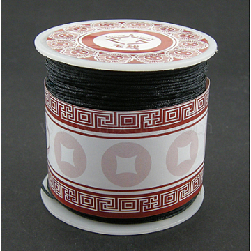 Nylon Thread Cord, DIY Material for Jewelry Making, Black, 1mm, about 38.27 yards(35m)/roll(X-NS018-2)