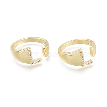 Brass Micro Pave Clear Cubic Zirconia Cuff Rings, Open Rings, Letter, Letter.L, Size 7, Inner Diameter: 17mm; L: 9.5x6mm(RJEW-F103-13L-G)