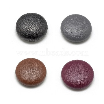 Imitation Leather Covered Cabochons, with Aluminum Bottom, Half Round/Dome, Mixed Color, 20x6.5mm(WOVE-S084-05-M)