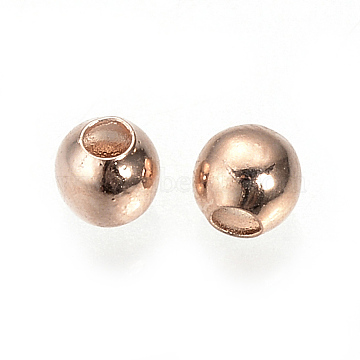 Brass Spacer Beads, Nickel Free, Real Rose Gold Plated, Round, 3mm, Hole: 1mm(X-KK-Q735-54RG)