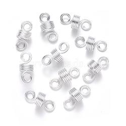 Aluminum Hair Braid Dreadlock Beads, Dread Cuff Coil, Wire Hair Coil Cuffs, 5 Loops, Silver, 22~23x10mm, Hole: 4mm; 8mm Inner Diameter(ALUM-S017-001B)