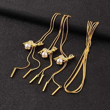 Deer Long Adjustable Alloy Rhinestone Lariat Necklaces, with Acrylic Pearl and Brass Snake Chain, Golden, 38.6 inches(NJEW-F194-03G)