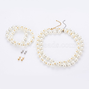 304 Stainless Steel Jewelry Sets, Ball Stud Earrings & Beaded Necklaces & Stretch Bracelets, with Plastic Round Beads, White, Mixed Color, 16.7 inches(42.5cm); 17x6mm, Pin: 0.7mm; 2-1/8 inches(5.5cm)(SJEW-G073-08-12mm)