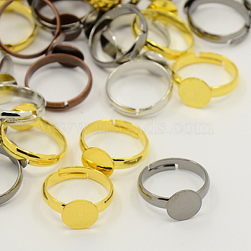 Mixed Adjustable Brass Pad Ring Findings, Cadmium Free & Lead Free, Mixed Color, 17mm; Tray: 8mm(X-EC541-M-RS)
