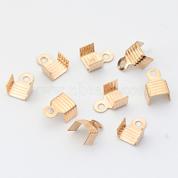 Iron Folding Crimp Cord Ends, Light Gold, 10x7.5x5mm, Hole: 1.5mm