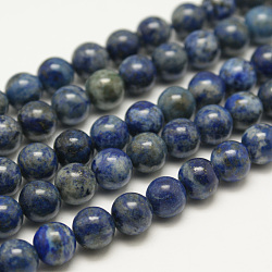 Dyed Natural Grade AB Lapis Lazuli Round Bead Strands, 8mm, Hole: 1mm; about 48pcs/strand, 15.5