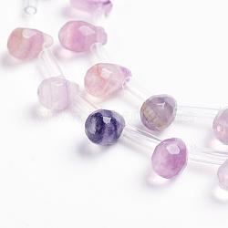 """Chapelets de perles en fluorite naturel, goutte , facette, 9x6mm, trou: 1mm; environ 38~44 pcs/chapelet, 16.1""""~18.1"""" (41~46 cm)(G-J360-10)"""