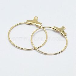латунные подвески, обруч серьги выводы, долговечный, никель свободный, открытый круг / кольцо, реальный 18 k позолоченный, 24.5x20.5x0.9 mm, отверстия: 1 mm(X-KK-F727-21G-NF)