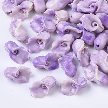Synthetic Coral Beads, Dyed, Two Tone, Calla Lily, Orchid, 15x10x9mm, Hole: 1.5mm(X-CORA-R017-29-B05)