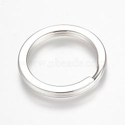 304 en acier inoxydable divisé porte-clés, conclusions de fermoir porte-clés, couleur inox, 32x3 mm(STAS-K149-12C)