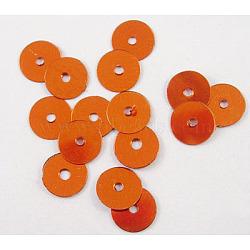 Paillette en plastique / perles paillettes, chocolat, 6 mm de diamètre, Trou: 1mm(X-PVC6mm18Y)