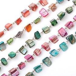 main perles de coquillage chaînes de colliers bracelets faire, avec épingle à oeil en fer, non soudée, platine, couleur mélangée, 39.9(AJEW-JB00066)