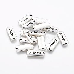 Tibétain rectangle en alliage de style avec pendentifs mot de la famille, sans cadmium et sans plomb, argent antique, 8x21x2mm, Trou: 2mm(X-TIBEP-Q043-057-RS)