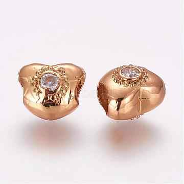 Brass Micro Pave Cubic Zirconia European Beads, Heart, Golden, 10x12x9mm, Hole: 5mm(ZIRC-F054-30G)