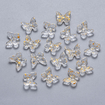 Two Tone Transparent Spray Painted Glass Charms, with Glitter Powder, Butterfly, Clear, 9.5x11x3mm, Hole: 0.8mm(X-GLAA-T016-22D)