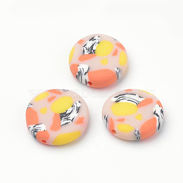 19mm MistyRose Flat Round Polymer Clay Beads