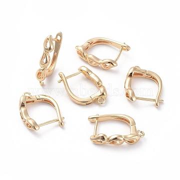 Accessoires de boucle d'oreilles en laiton, avec boucle, Plaqué longue durée, véritable plaqué or, 18x13x4.2mm, trou: 1.4 mm; broches: 0.7 mm(KK-L180-107G)