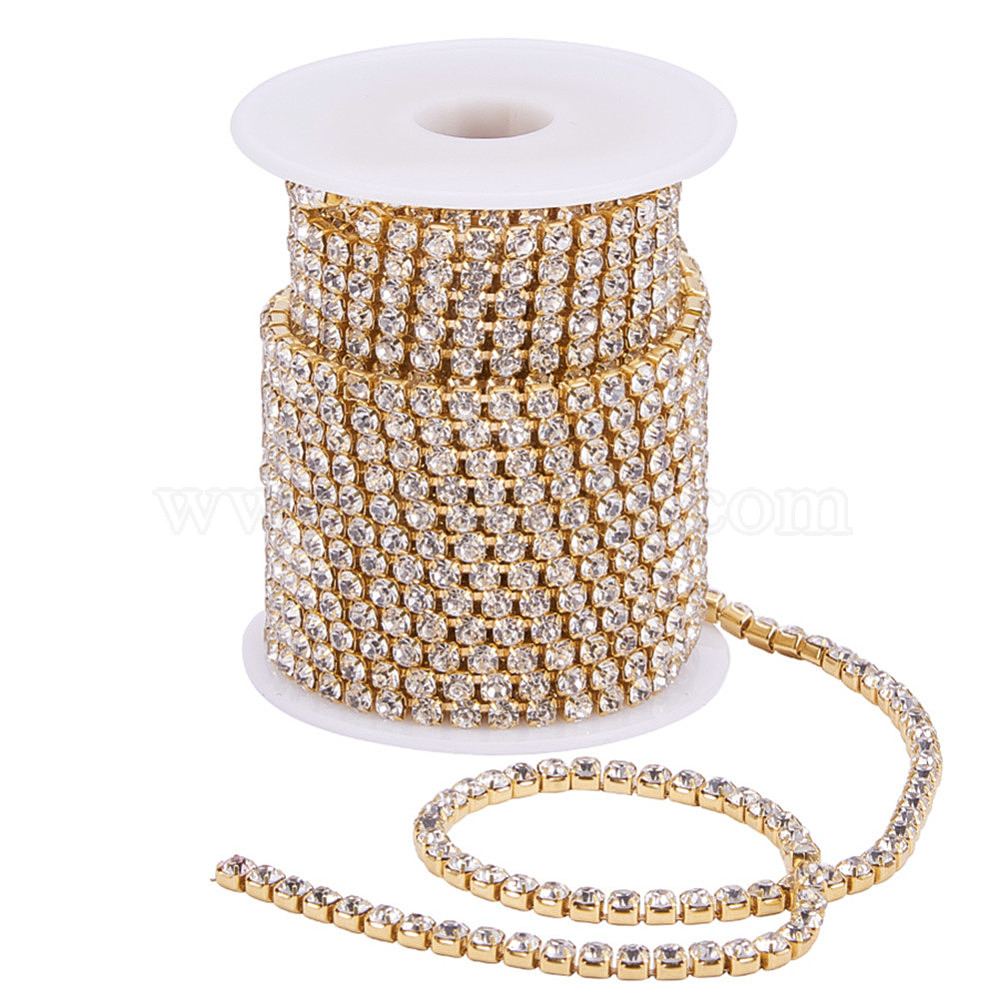 BLINGINBOX Rhinestones Chain 10 Yards SS6//2.0mm Glass Sew On Rhinestones Cup Chain Color Sew On Trim Citrine