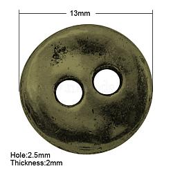 Boutons de style tibétain, sans plomb et sans nickel, plat rond, bronze antique, 13x2mm, Trou: 2.5mm(X-TIBE-R178-AB-FF)
