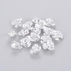 Ton argent minuscule fleur rose aluminium métal séparateurs perles pour la fabrication de bijoux de bricolage,  largeur de 12 mm, hauteur de 7 mm , Trou: 1mm(X-AF12mm001Y)