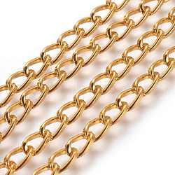 chaînes d'aluminium tordu de chaînes de trottoir, non soudée, oxydé en or, lien: 5x9 mm(X-CH001Y-29)