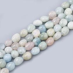 природные морганит нитей бисера, овальный, 9~12.5x8~9x7~9 mm, отверстия: 1 mm; о 38~45 шт / прядь, 15.3(X-G-T064-54A)
