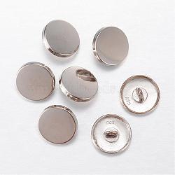 Boutons en alliage, 1-trou, plat rond, platine, 23x7mm, Trou: 2mm(BUTT-D054-23mm-05P)