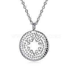"""Colliers avec pendentif en 925 argent sterling, plat et circulaire avec étoile, argenterie, 16.5"""" (42 cm)(NJEW-BB30066)"""