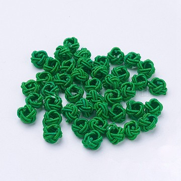 Nylon Cord Woven Beads, Round, Green, 6~6.5x4.5mm, Hole: 2.5mm; about 93~100pcs/bag(NWIR-F005-14H)
