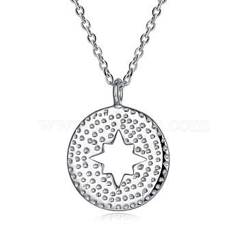 925 Sterling Silver Pendant Necklaces, Flat Round with Star, Silver, 16.5 inches(42cm)(NJEW-BB30066)