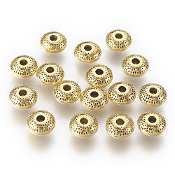 perles en alliage d'argent tibétain, sans cadmium et sans nickel et sans plomb, rondelle, or antique, 8x8x3.5 mm, trou: 2 mm.(X-GLF10433Y-NF)