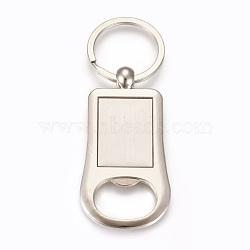 décapsuleurs en cabochon en alliage de zinc, avec anneau en fer, rectangle, platine, plateau: 22x30 mm; 95 mm; 69x36x3 mm; 1 pc / box(AJEW-E038-01P)