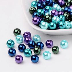 Océan mix perles perles de verre nacrées, couleur mixte, 8mm, trou: 1 mm; environ 100 PCs / sachet (HY-X006-8mm-11)