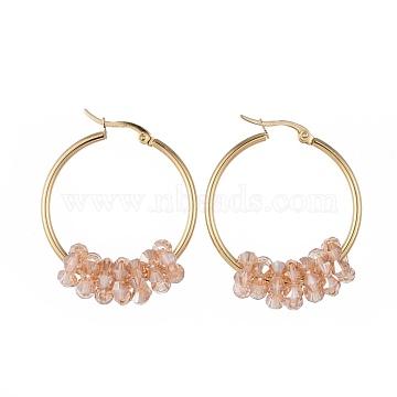 304 boucles d'oreilles en acier inoxydable, avec des perles de verre à facettes, or, Sandybrown, 42x33x2 mm; broches: 0.8x1.2 mm(EJEW-JE03572-08)