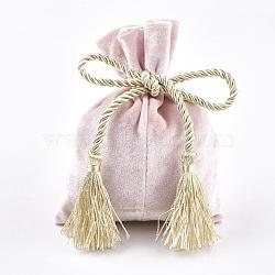 Sacs d'emballage en velours, avec corde en polyester 3 pli et pompon en polyester, rose, 14.5~15x11~11.5 cm(ABAG-T008-01C)