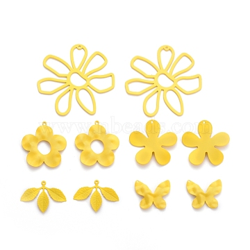 Spray Painted Iron Pendants, Butterfly & Flower & Leaf, Yellow, 20.5x25x3mm, Hole: 1mm, 33x35x3mm, Hole: 1mm, 33.5x31.5x2mm, Hole: 1mm, 53x56x2mm, Hole: 1mm, 23x32x1mm, Hole: 1mm, 10pcs/set(IFIN-X0051-04)