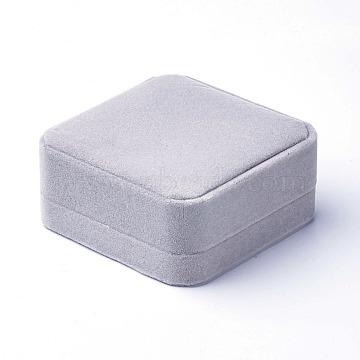 Velvet Bangle Bracelet Boxes, Jewelry Gift Boxes, Square, LightGrey, 9x9.1x4.1cm(X-OBOX-G010-05B)