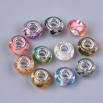 Resin European Beads, Large Hole Beads, with Silver Color Plated Brass Cores, Rondelle, Mixed Color, 14x8.5~9mm, Hole: 5mm(RPDL-S013-09)