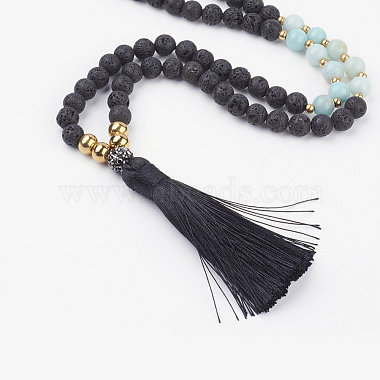 Natural Lava Rock and Amazonite Beaded Necklaces(NJEW-JN02027-02)-2