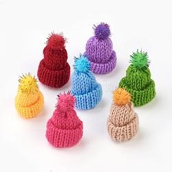 Décoration de chapeau en laine tressé manuel, diy artisanat décoration, avec paillette en plastique, couleur mixte, 33~38x43~48mm(AJEW-L066-A)