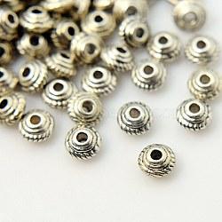 Perles intercalaires en argent tibétain argent antique bicône, sans plomb et sans cadmium et sans nickel, 5x3 mm, trou: 1.5 mm