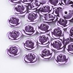 Perles en aluminium, givré, plaqué longue durée, 3 fleur -petal, Mediumpurple, 6x4.5 mm, trou: 0.8 mm(X-FALUM-T001-02A-14)
