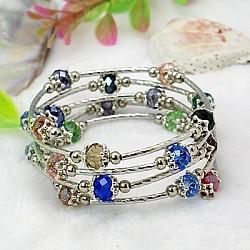 Bracelets enroulés à la mode, avec des perles de verre rondelles, Coupelles de style tibétain , laiton perles de tubes et de fils d'acier de la mémoire, colorées, diamètre intérieur: 55 mm(BJEW-JB00628-15)