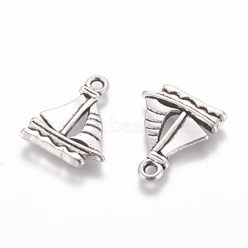 Tibetan Style Alloy Pendants, Sailing Boat Charms, Lead & Cadmium & Nickel Free, Antique Silver, about 20mm long,16.5mm wide,2mm thick, hole: 2mm(X-EDD022Y-NF)