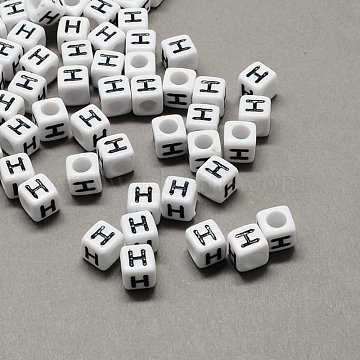 Large Hole Acrylic Letter European Beads, White & Black, Cube with Letter.H, 10x10x10mm, Hole: 4mm(X-SACR-Q103-10mm-01H)