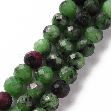 Natural Ruby in Zoisite Beads Strands, Round, Faceted, 6mm, Hole: 0.8mm, about 61~62pcs/strand, 15.35 inches(39cm)(G-S362-109D)