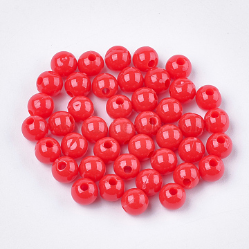 Opaque Plastic Beads, Round, Red, 6x5.5mm, Hole: 1.8mm; about 4790pcs/500g(KY-T005-6mm-604)