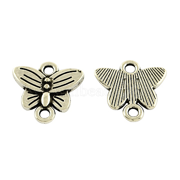 Butterfly Tibetan Style Alloy Links connectors, Cadmium Free & Lead Free, Antique Silver, 14x14.5x2mm, Hole: 2mm(X-TIBE-5369-AS-LF)