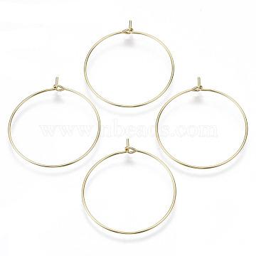 Brass Wine Glass Charms Rings, Hoop Earring Findings, DIY Material for Basketball Wives Hoop Earrings, Nickel Free, Real 18K Gold Plated, 21 Gauge, 35x30x0.7mm(KK-R112-037B-NF)